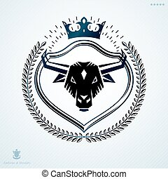 Heraldic Coat of Arms decorative emblem, vector illustration of imperial crown and bull head illustration