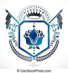 Heraldic coat of arms decorative emblem.