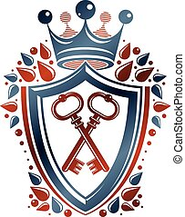 Heraldic coat of arms decorative emblem. Protection shield emblem created with imperial crown and keys, isolated vector illustration.