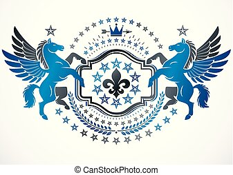 Heraldic coat of arms decorative emblem made with graceful...