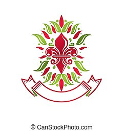 Heraldic coat of arms decorative emblem with lily flower, eco product quality. Isolated vector illustration.