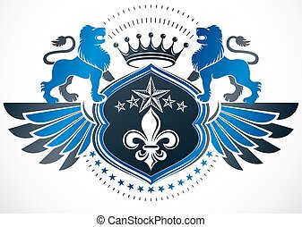 Heraldic coat of arms decorative winged emblem, protection shield created with Lily flower, wild lion and imperial crown.