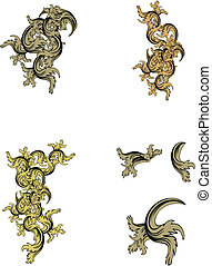 heraldic coat of arms ornament set