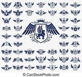 Heraldic Coat of Arms vector big set, vintage antique ...