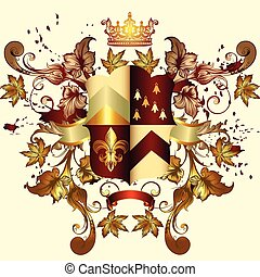 Heraldic coat of arms with shield, crown and ornament.eps