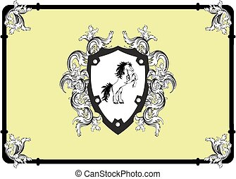 heraldic corners horse background