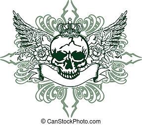 heraldic, cranio, elemento