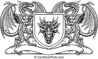 Heraldic Crest Coat of Arms Dragon Shield Emblem
