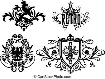 heraldic crest element design for your label