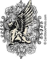 heraldic, crista, elemento