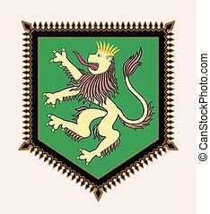 heraldic, crista, leão
