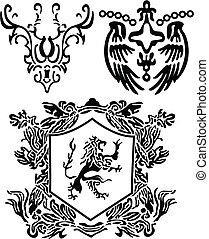 heraldic, crista, scroll, elemento