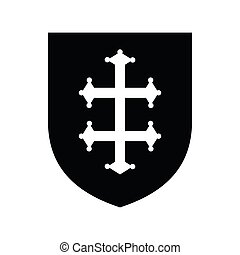 Heraldic cross of France on a shield icon