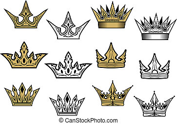 Heraldic crowns and diadems for design and decorate