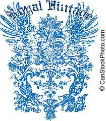 heraldic, desenho, asa