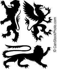 heraldic, desenho, griffin