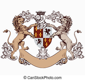 Heraldic design element with hand