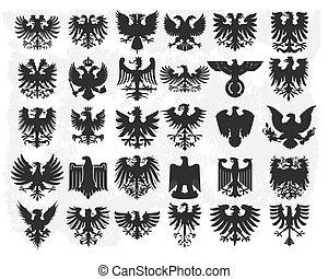 heraldic design elements isolated on light background