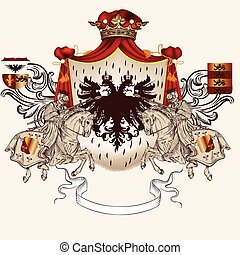 Heraldic design with coat of arms a