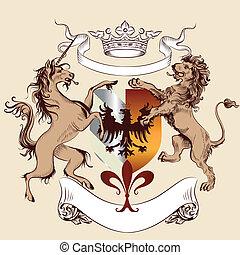 Heraldic design with coat of arms