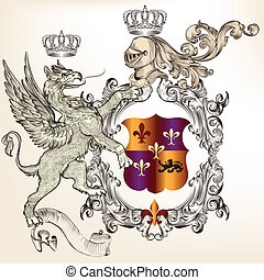 Heraldic design with griffin, knigh