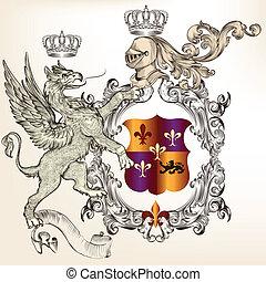 Heraldic design with griffin, knigh