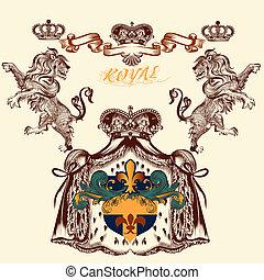 Heraldic design with lion and coat of arms - Vector heraldic...