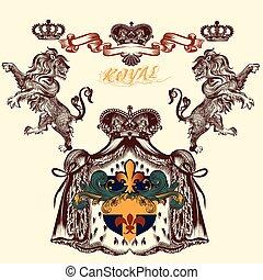 Heraldic design with lion and  coat