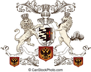 Heraldic design with lion, horse