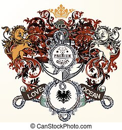 Heraldic design with lion, shield and griffin and anchor....