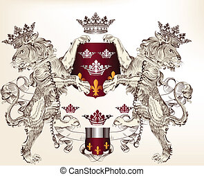 Heraldic design with lions holding