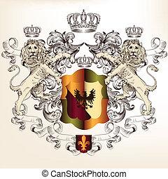 Heraldic design with shield