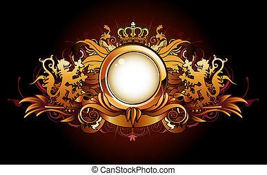 heraldic, dourado, quadro