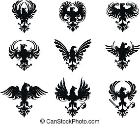 heraldic eagle coat of arms set in vector format very easy...