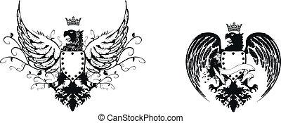 heraldic eagle coat of arms set4