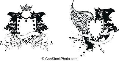heraldic eagle coat of arms set9
