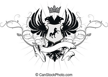 heraldic eagle double head coat of arms  in vector format