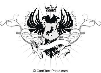 heraldic eagle double head coat of arms  in vector format