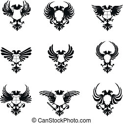 heraldic eagle double head coat of arms set in vector format