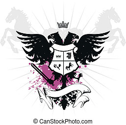 heraldic eagle double head in vector format