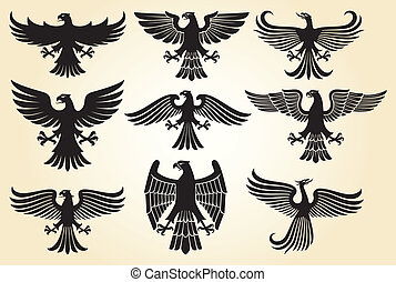 heraldic eagle set (eagle silhouettes, heraldic design ...