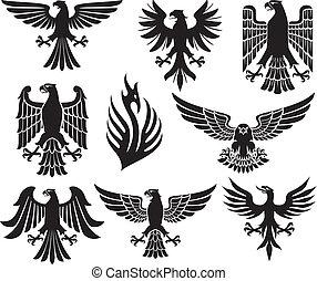 heraldic eagle set (eagle silhouettes, heraldic design...