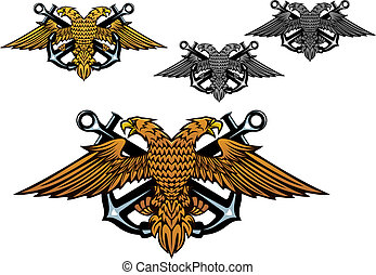Heraldic eagle with a sea anchor in claws