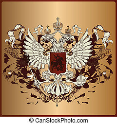 Heraldic eagle with armor, banner