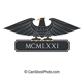 Heraldic eagle with nameplate - Black heraldic eagle with...