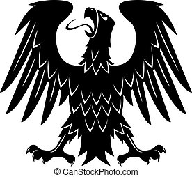 Heraldic eagle with raised wings, turned head