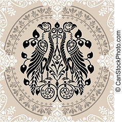 Heraldic Eagles decorated with floral ornaments - Heraldic...