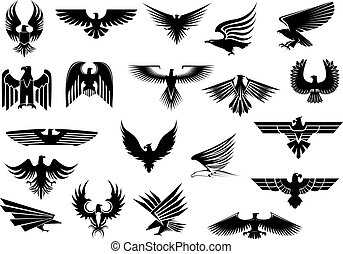 Heraldic eagles, falcons and hawks set - Heraldic black...