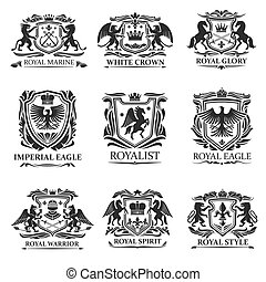 Heraldic eagles, lions, crowns. Royal heraldry