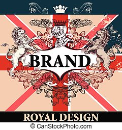 Heraldic elegant design with British flag, lions, ornament and frame, royal design. Ideal for identity, logotypes, menu, T-shirt prints.eps
